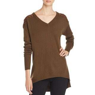 Love Scarlett Womens Sweater Lace Up Detail V-Neck - xL