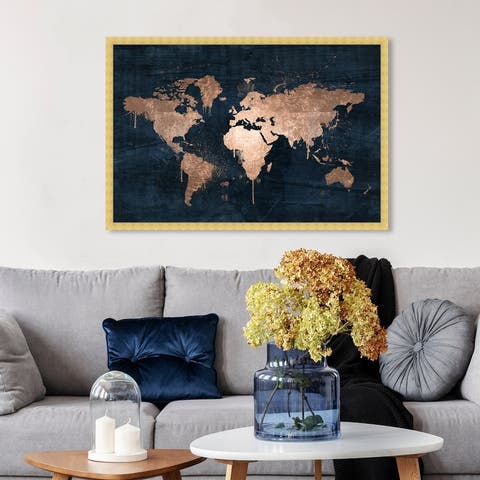 Oliver Gal 'Mapamundi Copper' Maps and Flags Framed Wall Art Prints World Maps - Bronze, Blue