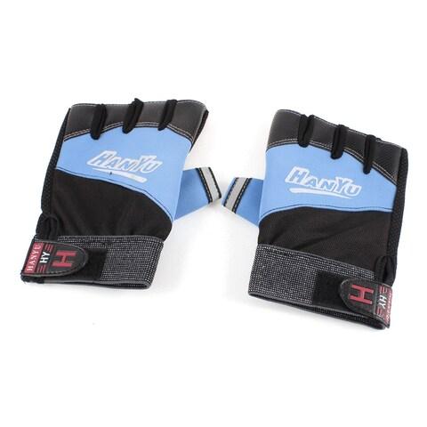 Black Blue Stretchy Cuff Adjustable Nonslip Half Finger Sports Gloves Pair