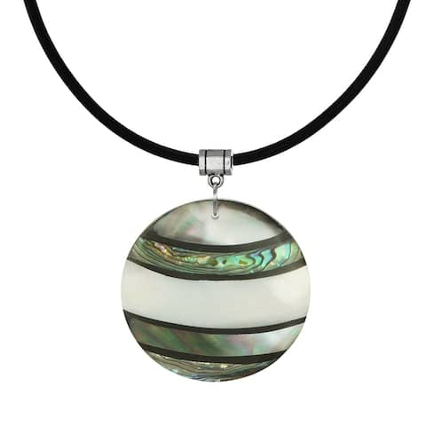 Handmade Jewelry by Dawn Round Shell Pendant & Black Greek Leather Necklace (USA)