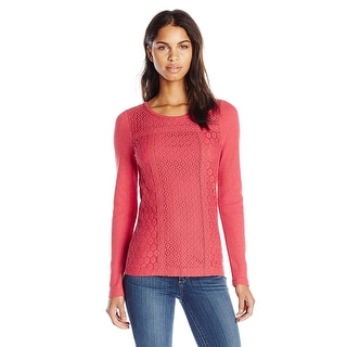 Lucky Brand Berry Red Mixed Lace Thermal Top Shirt - XS