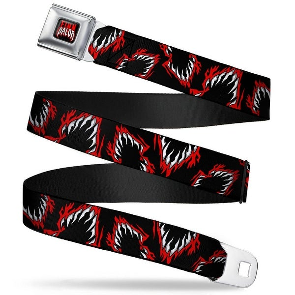 Finn Balor Logo Full Color Black Red White Finn Balor Demon Teeth Scattered Seatbelt Belt