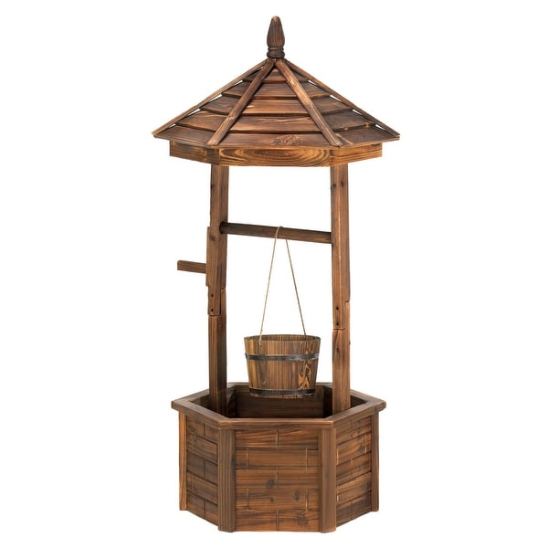 Shop Rustic Wishing Well Planter Free Shipping Today Overstock