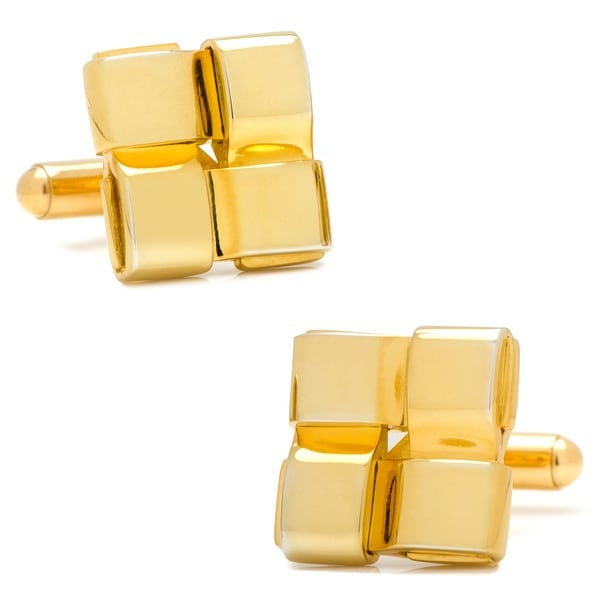 Gold Woven Square Cufflinks
