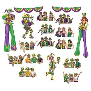 """Club Pack of 204 Mardi-Gras Party Goers and Entertainers Wall Decorations 42"""""""