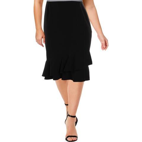 Calvin Klein Womens Plus Flounce Skirt Ruffled Knee Length