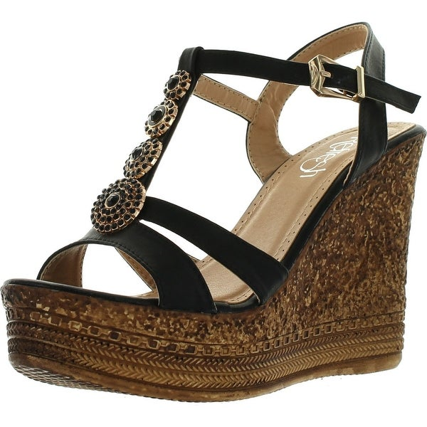 Refresh Grita-04 Women's Beaded Platform Ankle Strap Cork Wedge Heel Sandal