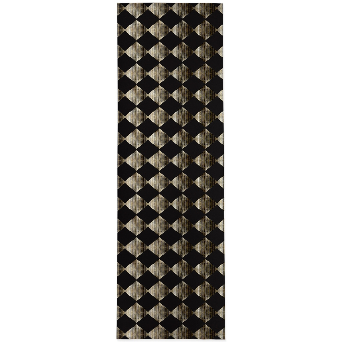 Block Print Check Board In Black And Gold Kitchen Mat By Kavka Designs Overstock 30585548