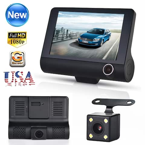 "AGPtek Three Shots Dual Lens 4"" HD 1080P Vehicle Car Dash Cam Rear Video Camera Recorder DVR - SIZE"