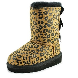 Ugg Australia Bailey Bow Leopard Toddler Round Toe Suede Tan Boot