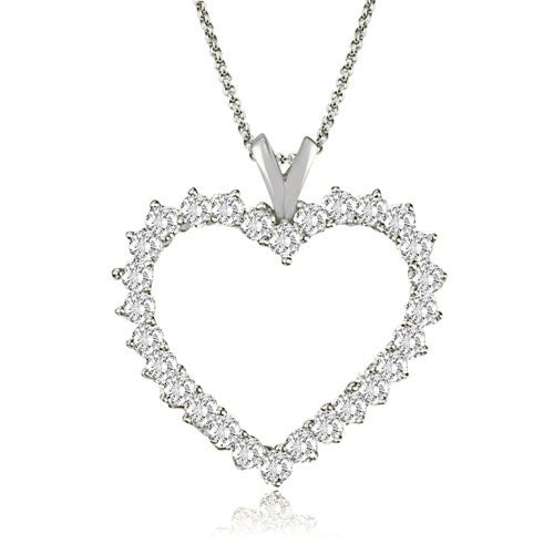 2.00 cttw. 14K White Gold Round Cut Diamond Heart Shape Pendant