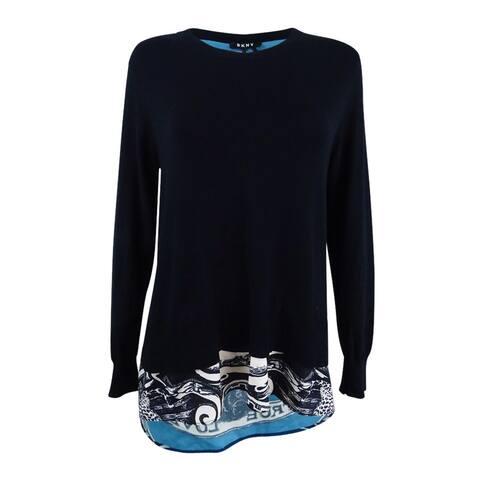 DKNY Women's Layered-Look Split-Back Sweater