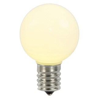 Pack of 5 Opaque Warm White LED G50 Retrofit Replacement Globe Ceramic Christmas Light Bulbs