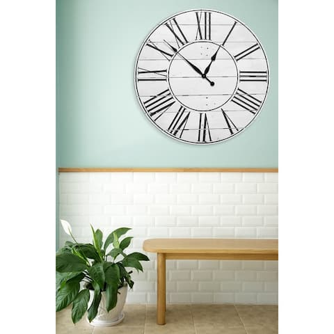 Reclaimed American Farmhouse White 30 Inch Wall Clock