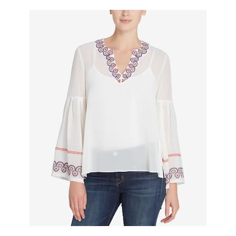 CATHERINE MALANDRINO Womens Ivory Embroidered Bell Sleeve V Neck Peasant Top Size: L