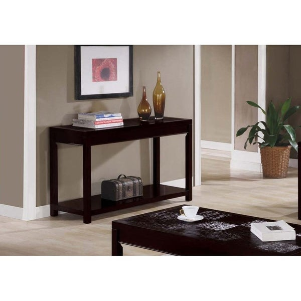 Monarch Specialties I 7802s 48 Inch Wide Veneer Console Sofa Table Cuccino