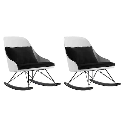 Set Of 2 Designer Large Rocking Chair with Cushion Plastic Arm Chair Lounge Nursery Living Room Rocker Metal Office Work