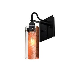 Besa Lighting 1WG-DUKECF Duke Single Light Wall Sconce with Glass Shade and Copper Foil Applique