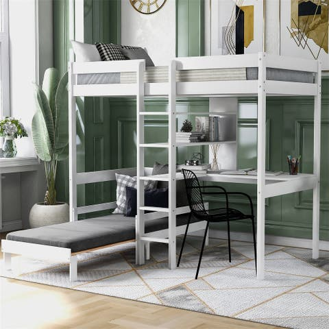 Merax Convertible Loft Bed with L-Shape Desk, Twin Bunk Bed with Shelves and Ladder