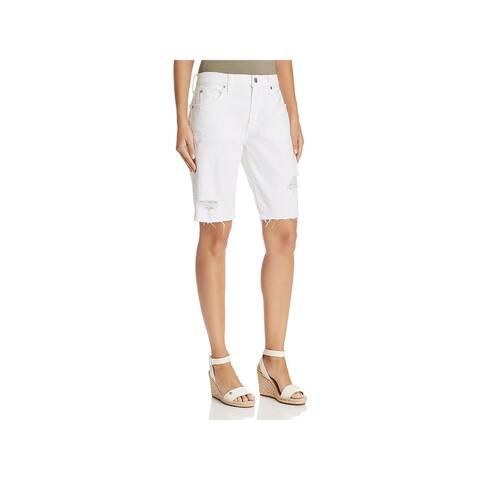 7 For All Mankind Womens Bermuda Shorts Denim Frayed Hem