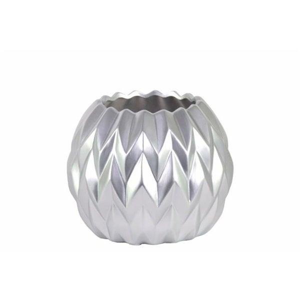 Benzara BM134189 Round Low Vase with Uneven Lip Wave Design - Silver - 6.75 x 6.75 x 5.5 in. & Small