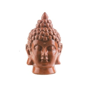 "7.5"" Buddha Head Seared Orange Glossy Decorative Table Top Statue"