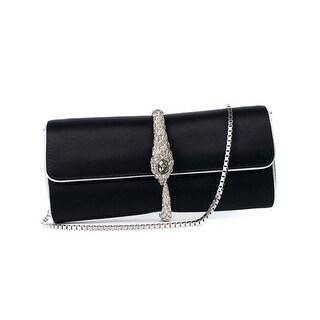Cavalli Black Silver Serpent Jewel Clutch Wallet Shoulder Bag - Small