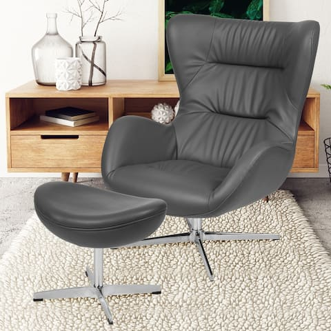 High Back Swivel Wing Accent Chair and Saddle Ottoman Set - Chair & Ottoman Set