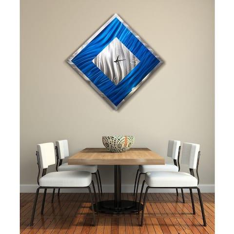 "Statements2000 Metal Wall Clock Art Modern Blue Silver Accent Decor by Jon Allen - Blue Ice Clock - 33"" x 33"""