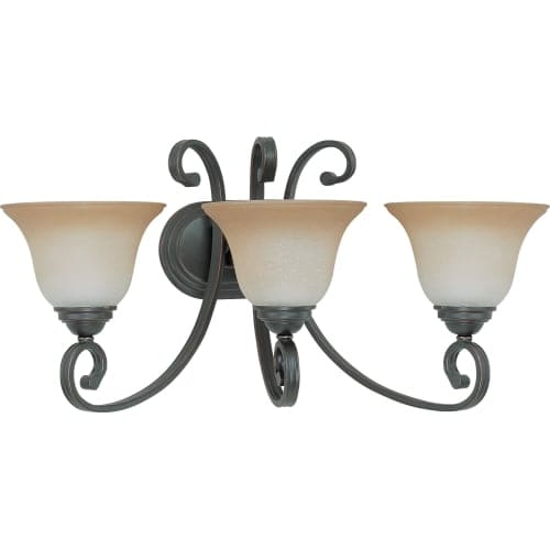 "Nuvo Lighting 60/2757 Montgomery 3 Light 24"" Wide Vanity Light with Champagne Linen Glass Shades"