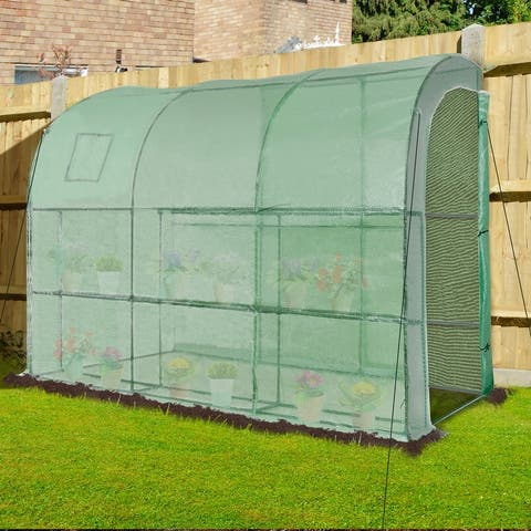 Outsunny 10' x 5' x 7' Outdoor Walk-In Tunnel Gardening Greenhouse with Windows and Doors & 2 Tiered 6 Wire Shelves, Green
