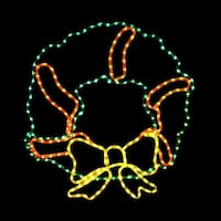 25 Inch Green Red and Yellow LED Rope Light Holiday Wreath Motif