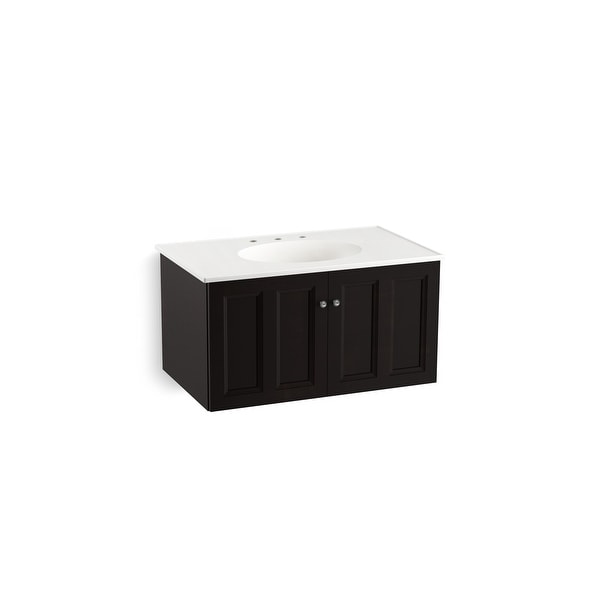 "Kohler K-99518 Damask 36"" Wall Mounted / Floating Bathroom Vanity Cabinet Only - Ramie Walnut"