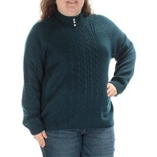 KAREN SCOTT $21 Womens New 1394 Blue Beaded Long Sleeve Sweater 3X Plus B+B