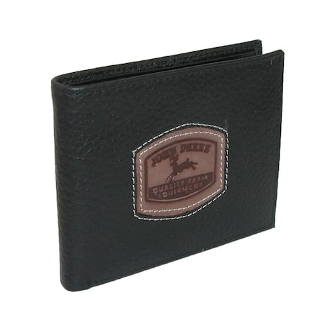 John Deere Men's Leather Passcase Billfold Wallet with Embossed Patch - one size