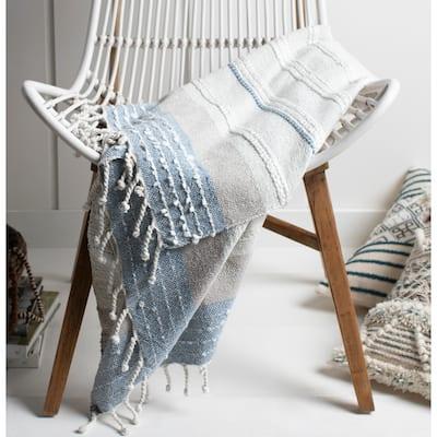 "Nita Coastal Hand Woven 50"" x 60"" Cotton-Blend Throw"