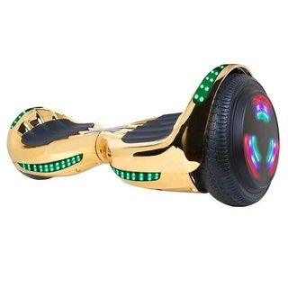"""Flash Wheel UL 2272 Certified Hoverboard 6.5"""" Bluetooth Speaker with LED Light Self Balancing Electric Scooter Chrome Gold"""