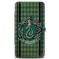 Slytherin Crest Stripes Diamonds Greens Black Hinged Wallet  One Size - One Size Fits most