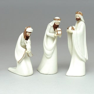 Set of 3 Inspirational Porcelain Religious 3 Kings Christmas Nativity Figures