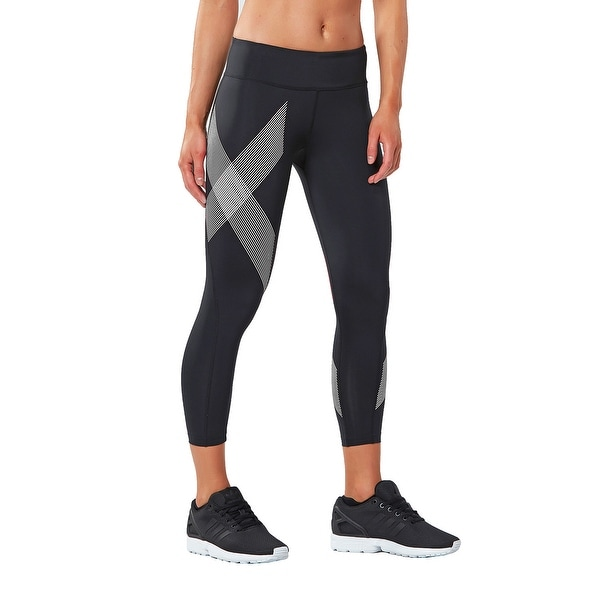 bea7dc4668 Shop 2XU Women's 7/8 Mid-Rise Compression Tights - Black/Striped White - On  Sale - Free Shipping On Orders Over $45 - Overstock - 25686687
