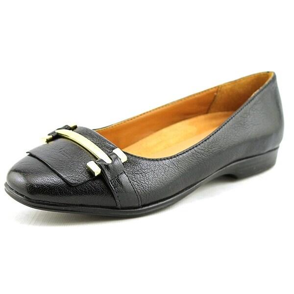 Naturalizer Joyce Women WW Round Toe Leather Black Flats