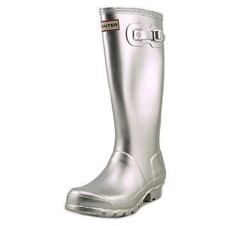 Hunter Original Metal Youth Round Toe Synthetic Silver Rain Boot
