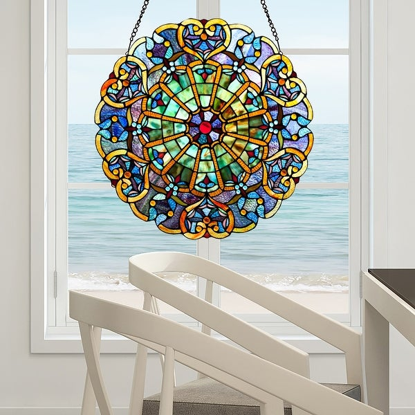 """Stained Glass Webbed Heart 22"""" Window Panel. Opens flyout."""