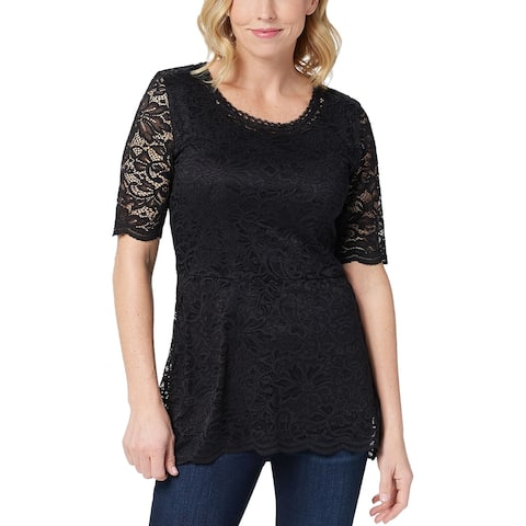 Isaac Mizrahi Womens Stretch Lace Peplum Knit Top Plus 2X Black A352272