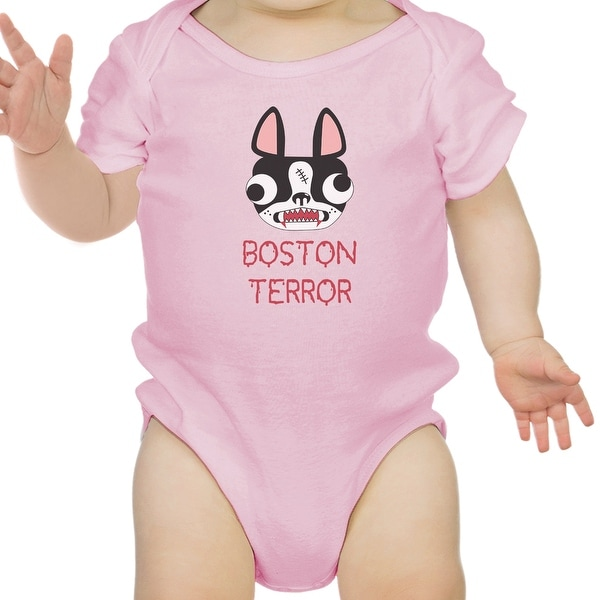 Boston Terror Terrier Funny Halloween Baby Bodysuit Cotton Baby Gifts - Pink