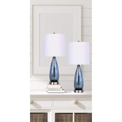 """21.5"""" Glass Accent Lamps with Brushed Nickel Accents and Off-White Linen Shades (Set of 2)"""