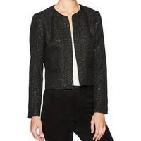 Nine West Black Womens Size 4 Sequin Tweed Open Front Jacket