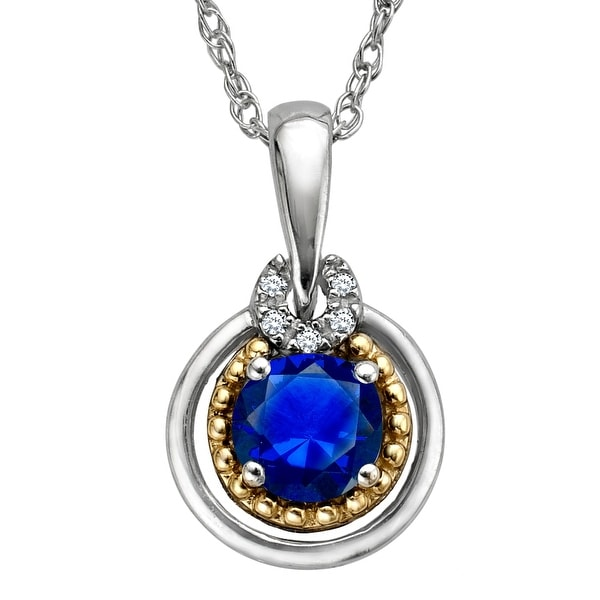 1 3/4 ct Created Sapphire Pendant with Diamonds in Sterling Silver and 14K Gold