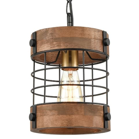 Rodez Rustic Kitchen Pendant Hanging Light Wood & Metal Wire Cage Ceiling Lamp Shade Distressed Brown
