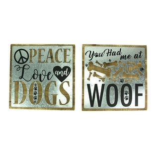 You Had Me at Woof Love and Dogs 2 Piece Rustic Wall Decor Set
